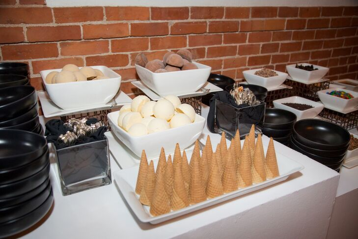 In addition to wedding cake, Lu and Greg treated guests to a sundae bar for dessert.