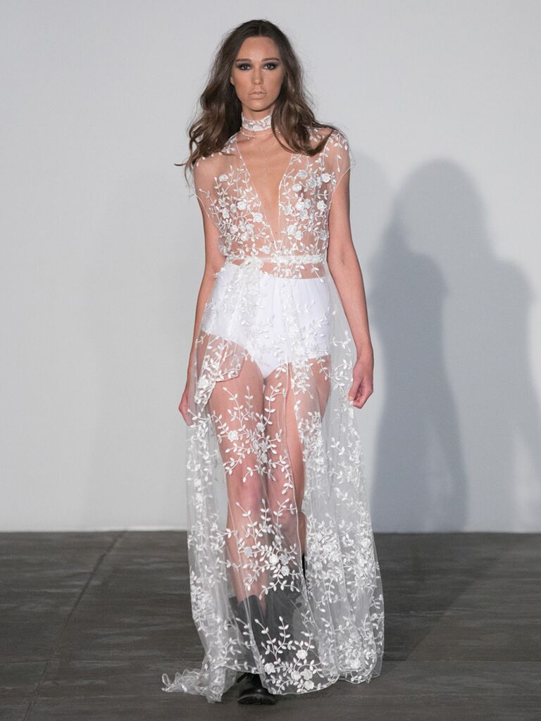 Sexy wedding dresses that rocked the runways watch sheer lace wedding dress ombrellifo Image collections