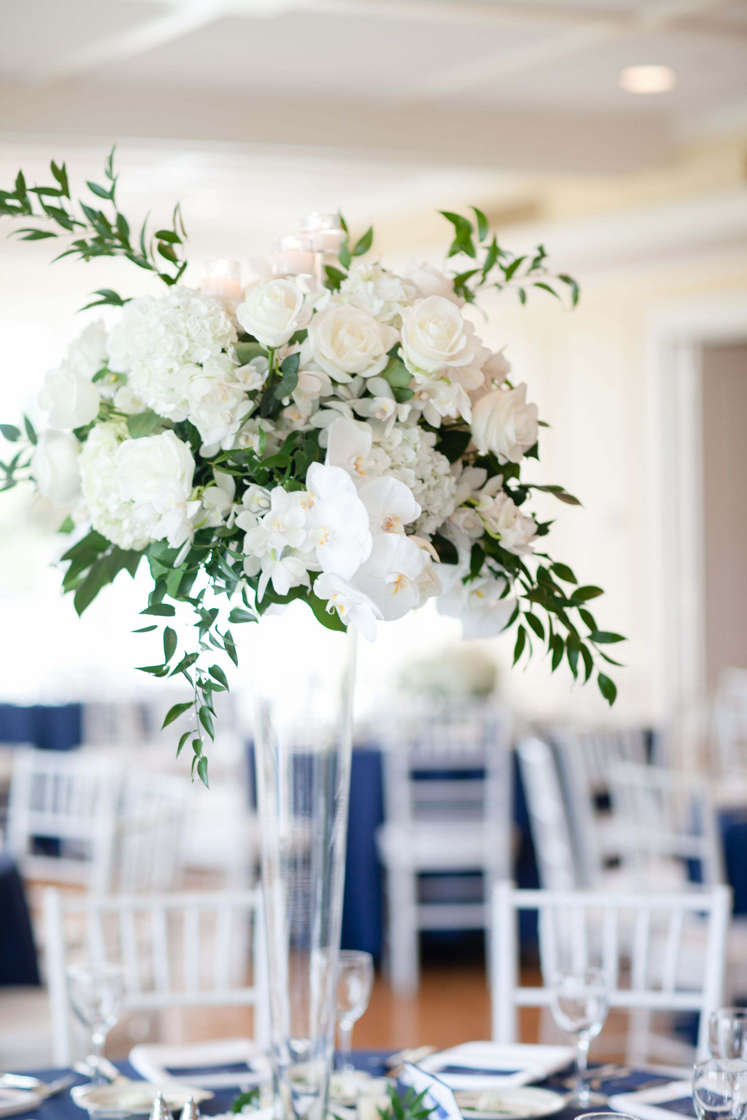 Tall orchid rose hydrangea centerpieces