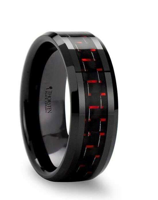 Larson Jewelers ANTONIUS Beveled Black Ceramic Ring with Black & Red Carbon Fiber - 6mm - 10mm Wedding Ring photo