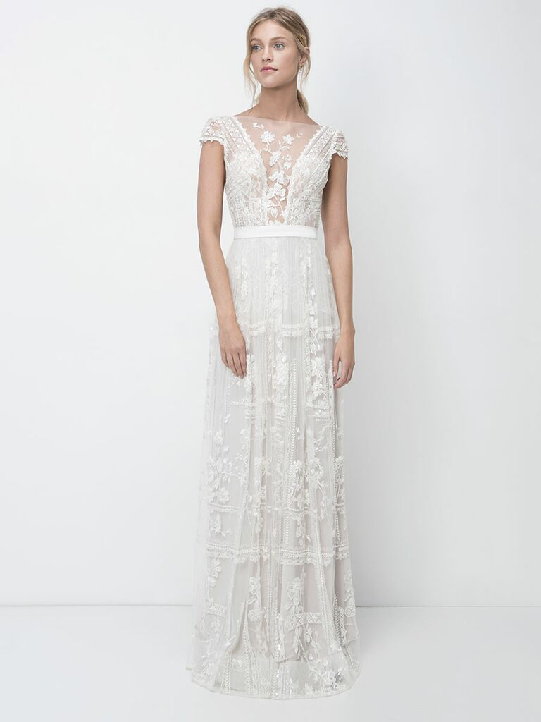 Lihi Hod Fall 2018 wedding dresses gown with sheer embroidered bodice detail