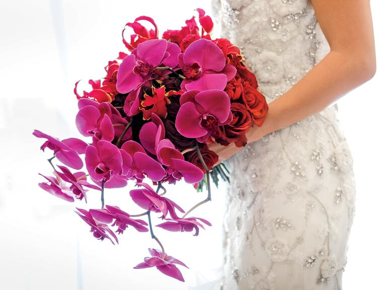 Radiant orchid cascading bridal bouquet