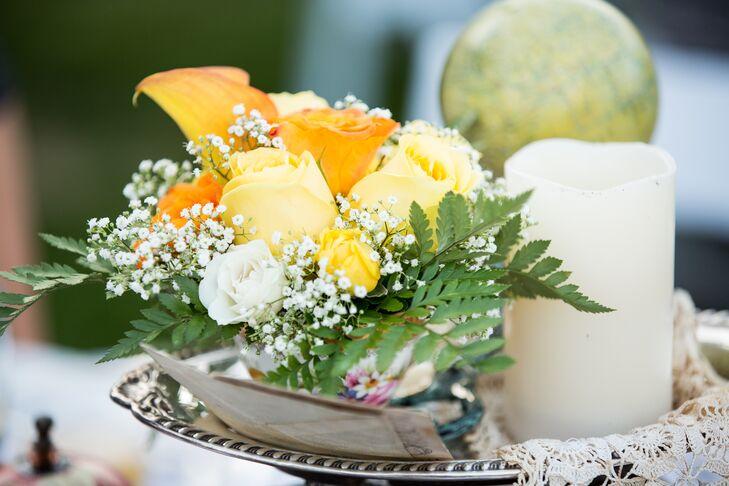 Orange yellow and white flower arrangement mightylinksfo