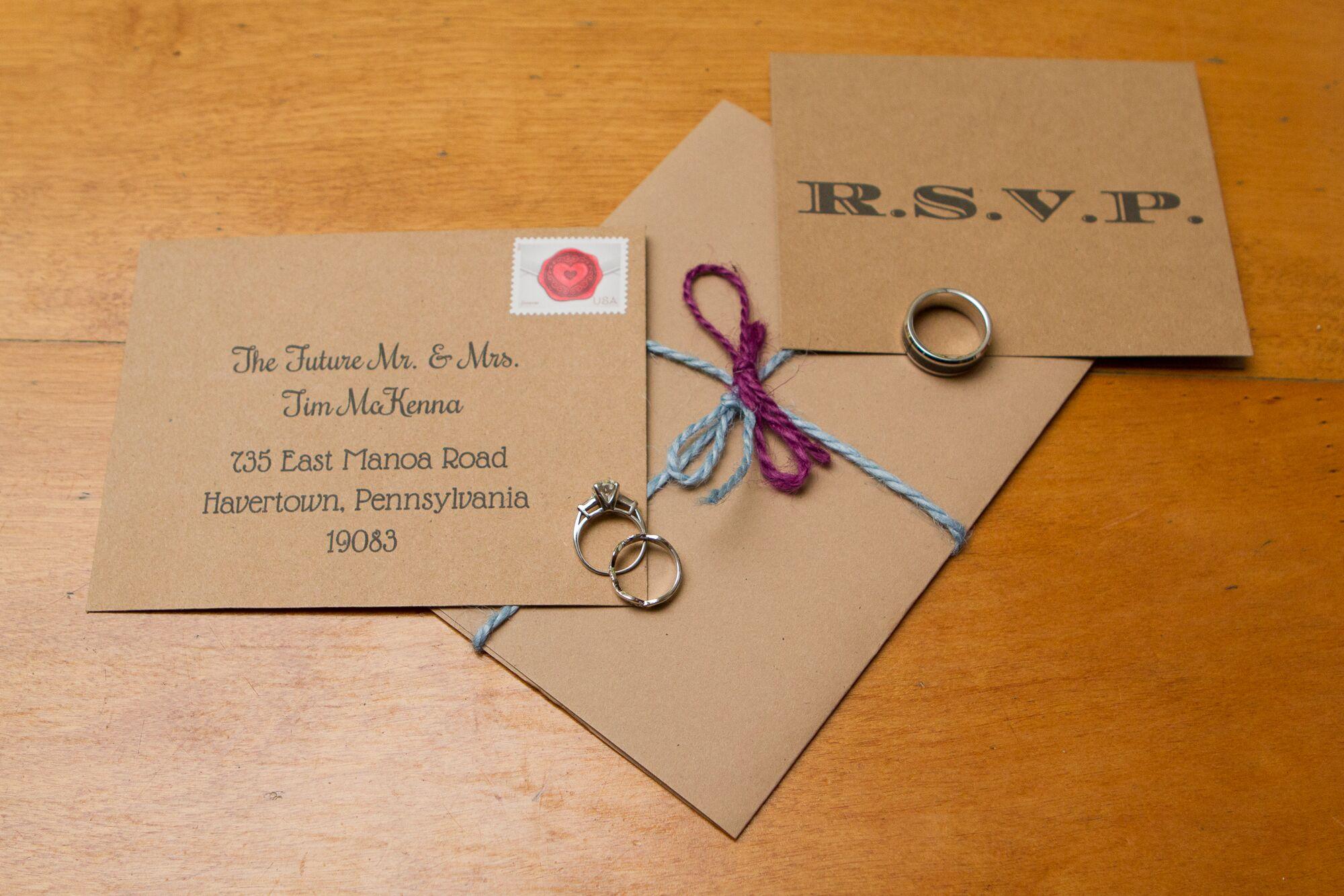 brown paper bag card stock wedding invitations