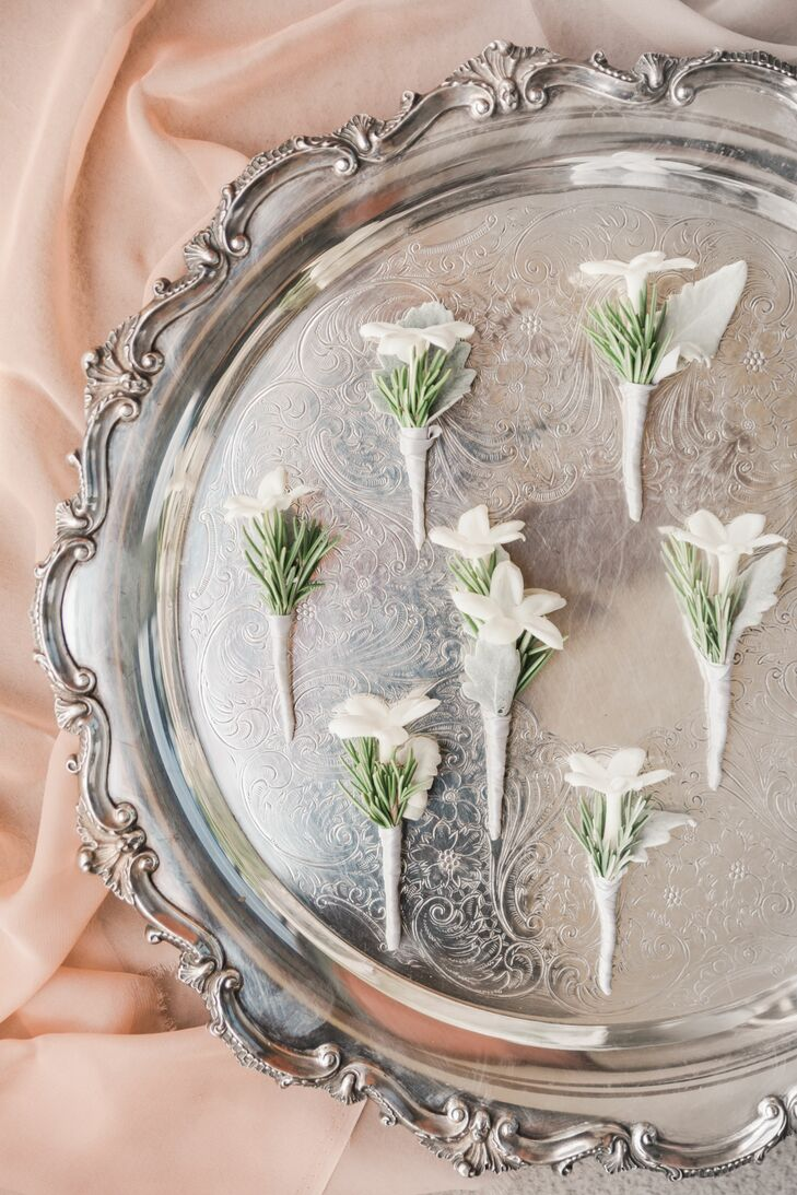 Stephanotis and Pine Boutonnieres