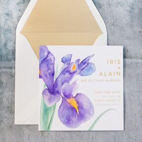 Modern Watercolor Iris Invitations