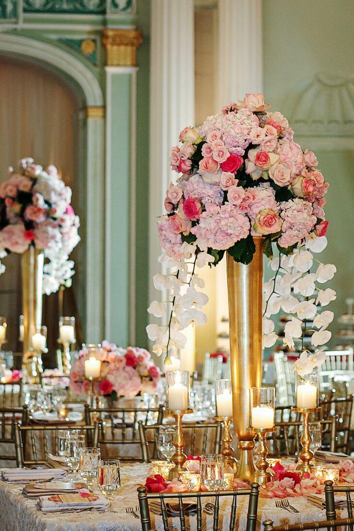 Tall romantic centerpieces