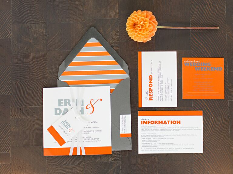Modern gray and orange wedding invitation suite