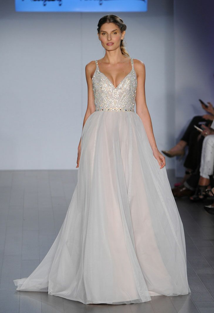 hayley paige v neck embellished plus size wedding dress with blush undertones