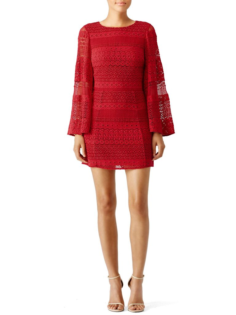 Rent The Runway Red Fall Wedding Guest Dress