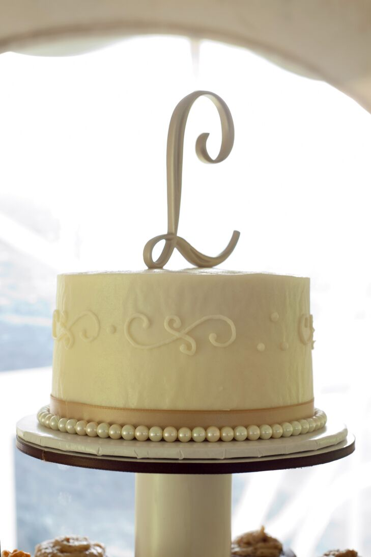 Classic Single Tier Wedding Cake with Letter Topper