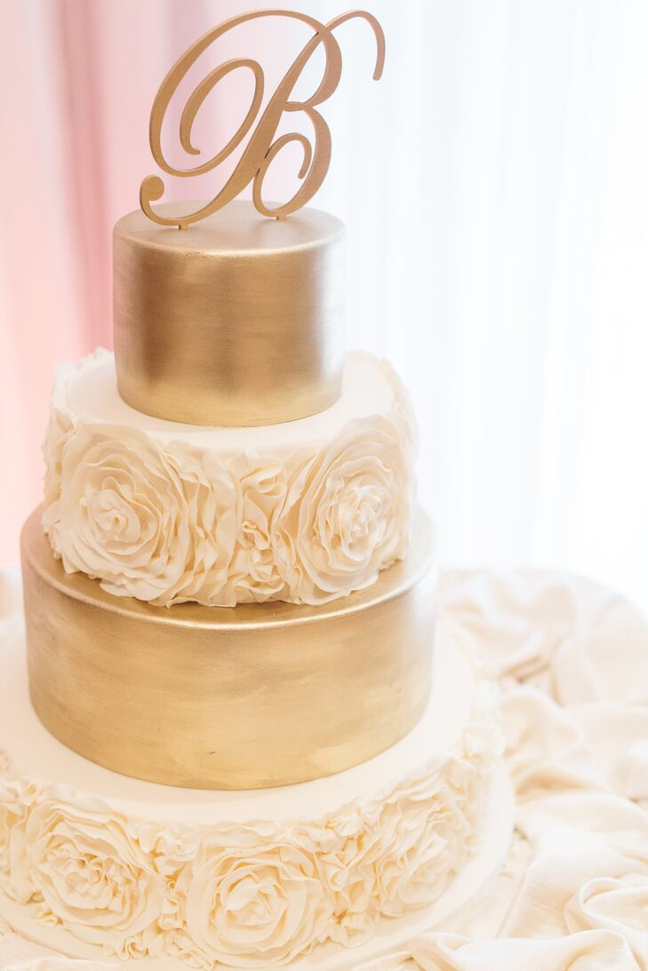 Tiered Ivory and Gold Wedding Cake