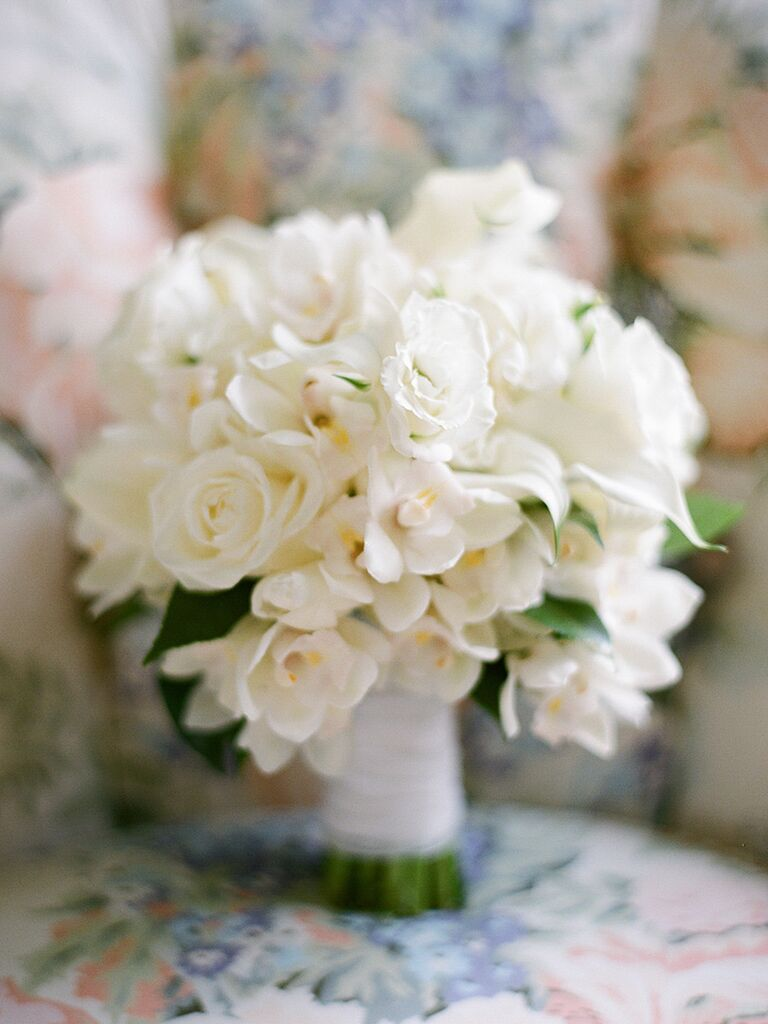 White Wedding Bouquet With Orchids Calla Lilies And Roses