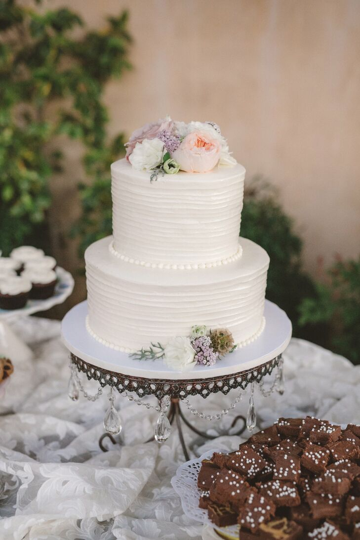 Simple, Rustic Wedding Cake and Dessert Table