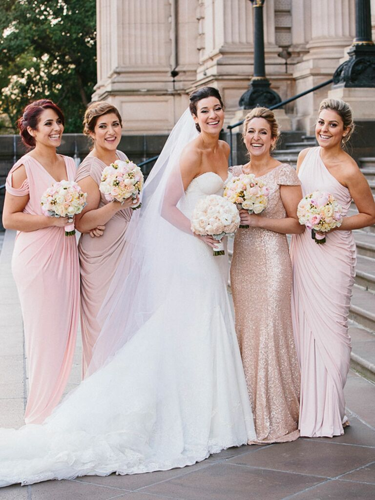How to choose mismatched bridesmaids dresses the right way light pink mismatched bridesmaid dresses ombrellifo Gallery