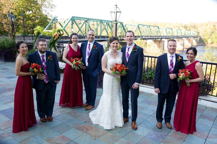 Wedding Party In Red And Navy