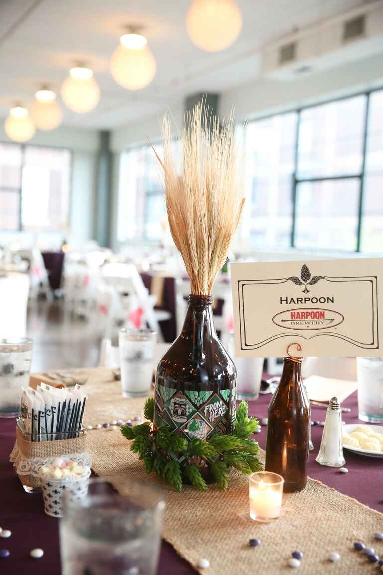 Beer centerpiece at a wedding
