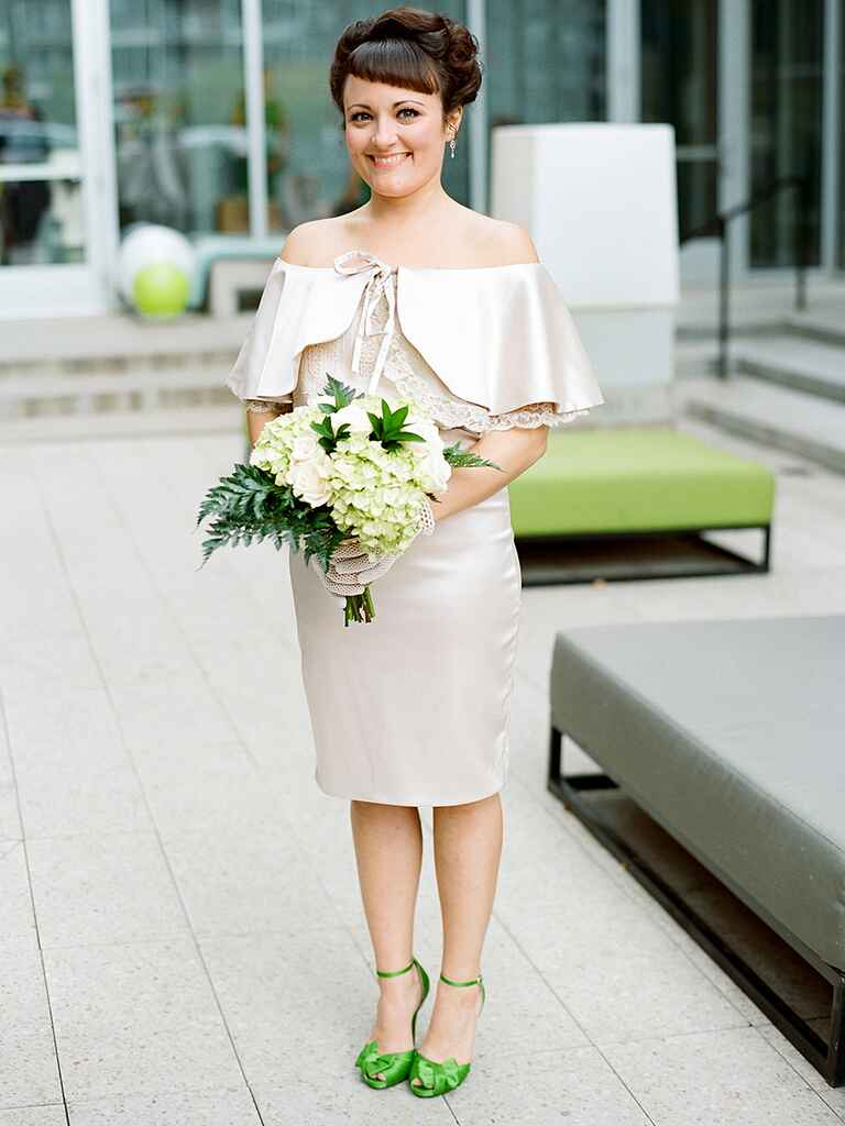 Vintage bridal look with a handmade champagne-colored dress