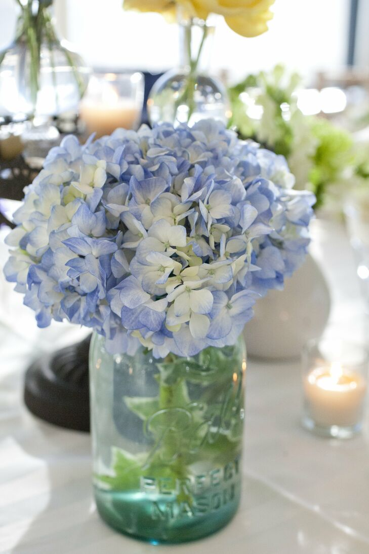 Hydrangea and mason jar centerpieces