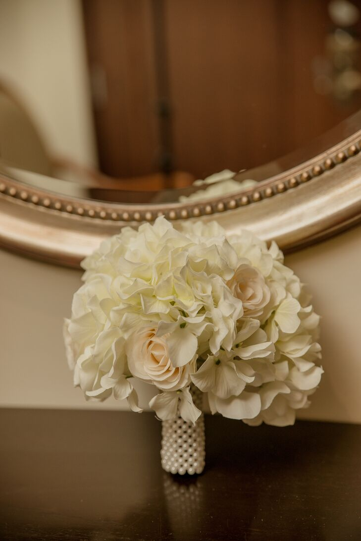 Ivory Bridal Bouquet with Pearl Wrap