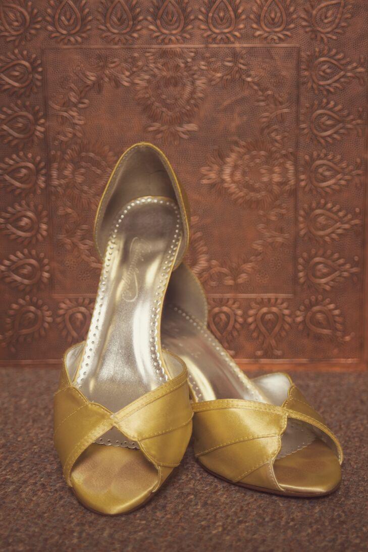 gold david�s bridal wedding shoes