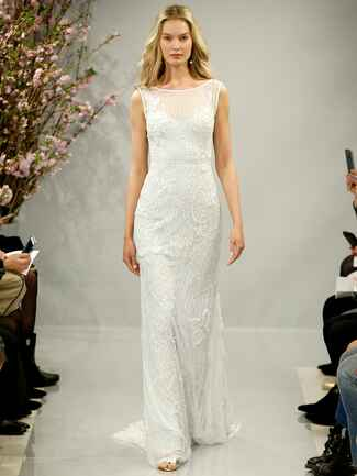 Theia Spring 2018 ivory pearl, crystal and sequin hand embroidered boat neck gown
