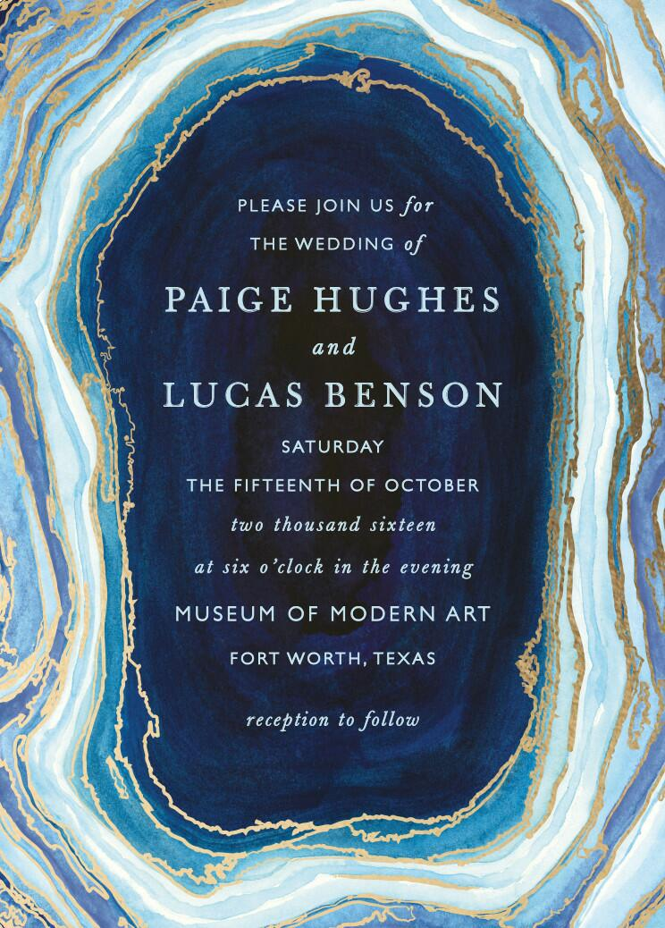 Gilt Agate Foil-Pressed Wedding Invitations