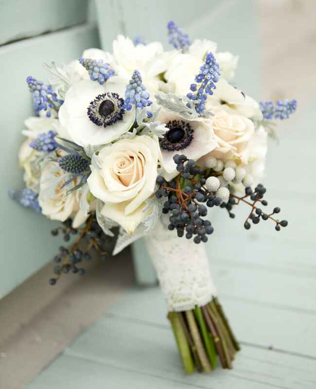 Hyacinth, Blueberry and Anemone Wedding Bouquet |<img class=