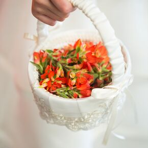 Diy flower girl baskets white wrapped flower girl basket with red blooms mightylinksfo
