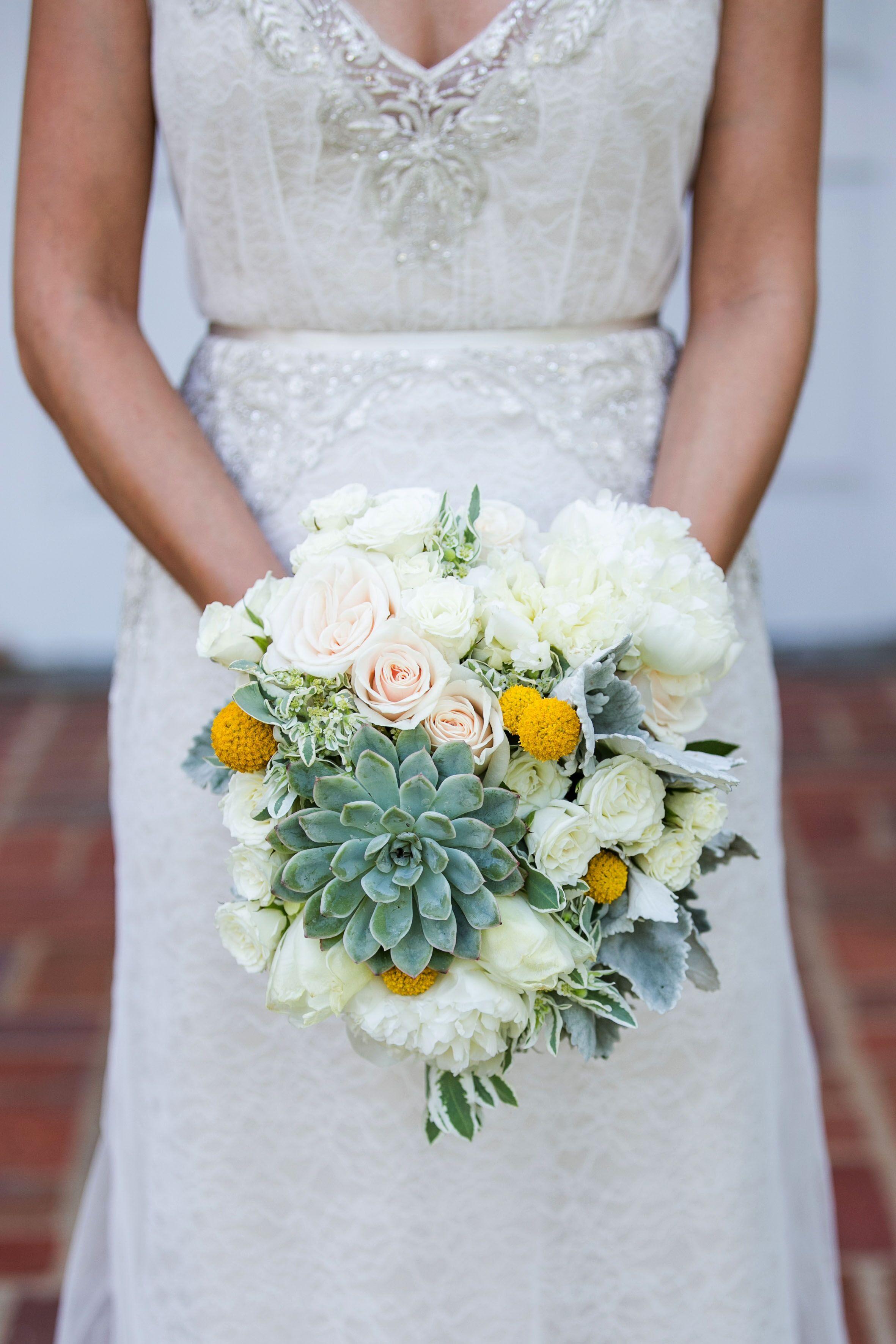 White Rose Succulent And Craspedia Bouquet