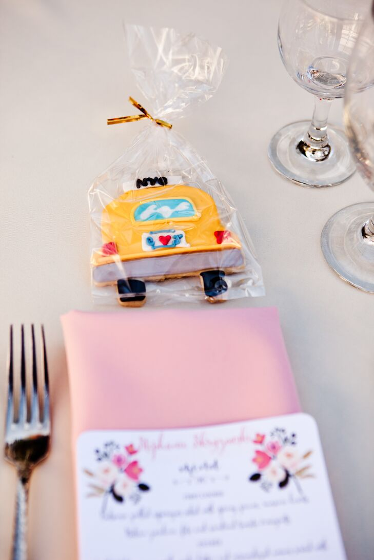 Yellow Taxi Wedding Favor Sugar Cookie