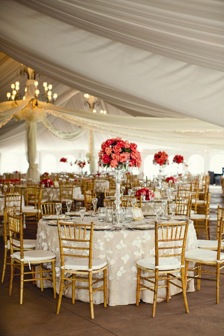 coral and ivory reception decor