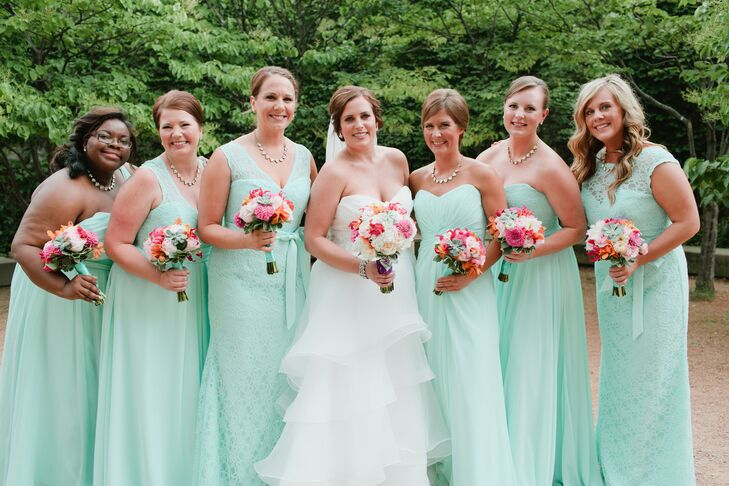Ali's bridesmaids chose whatever style or texture they wanted for their bridesmaid dress. Ali went through the Wedding Shoppe and chose her favorite mint Mori Lee styles, and the bridesmaids chose from there. Some were lace, some were chiffon and some were both. She loved the way the consistent, but mismatched, look came together.