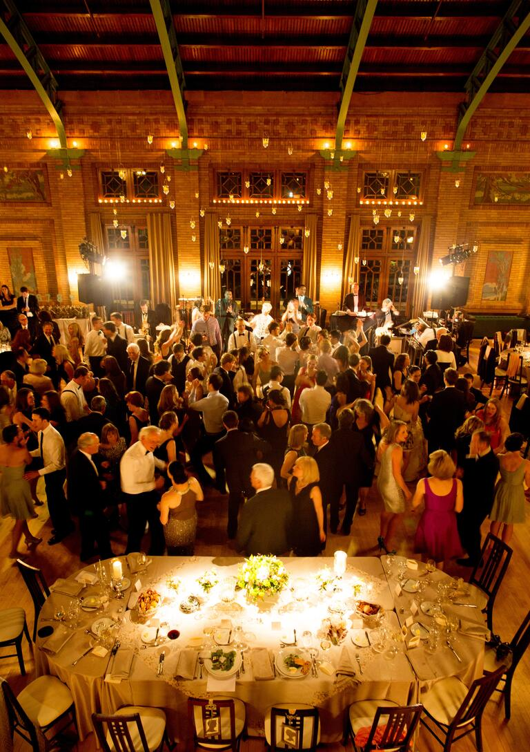 Overhead view of indoor wedding reception