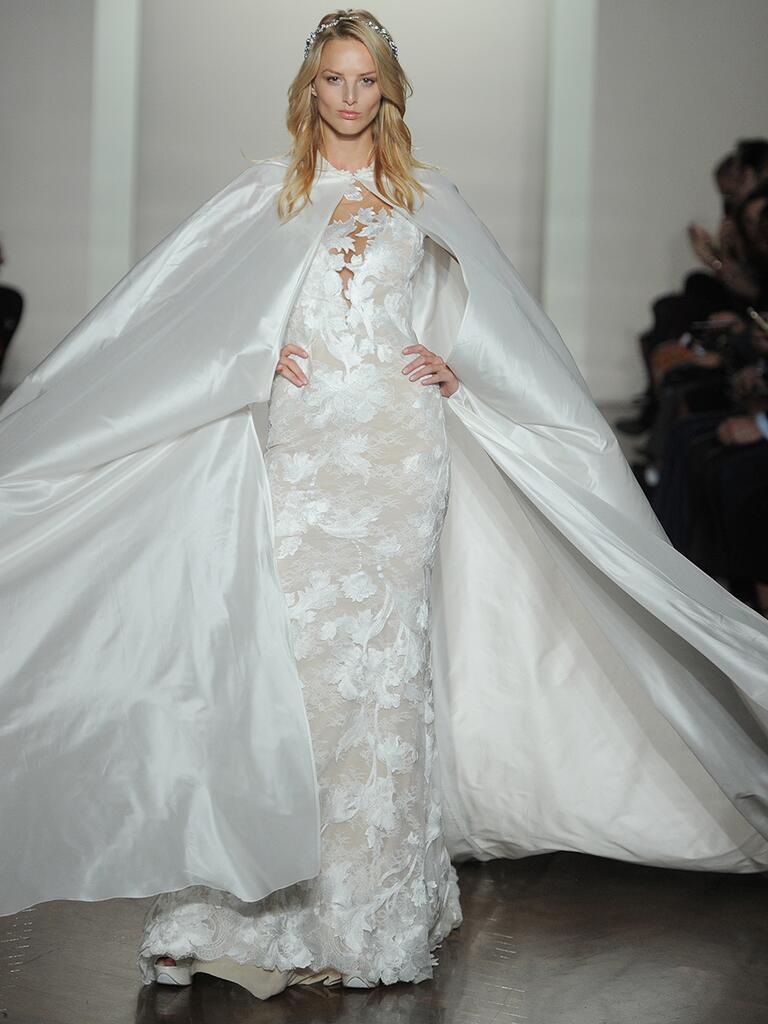 Pronovias wedding dress and cape