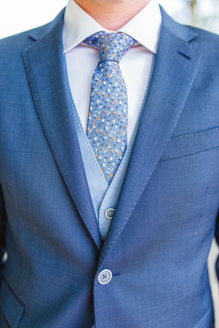 Blue Wedding Suit With Floral Blue Tie