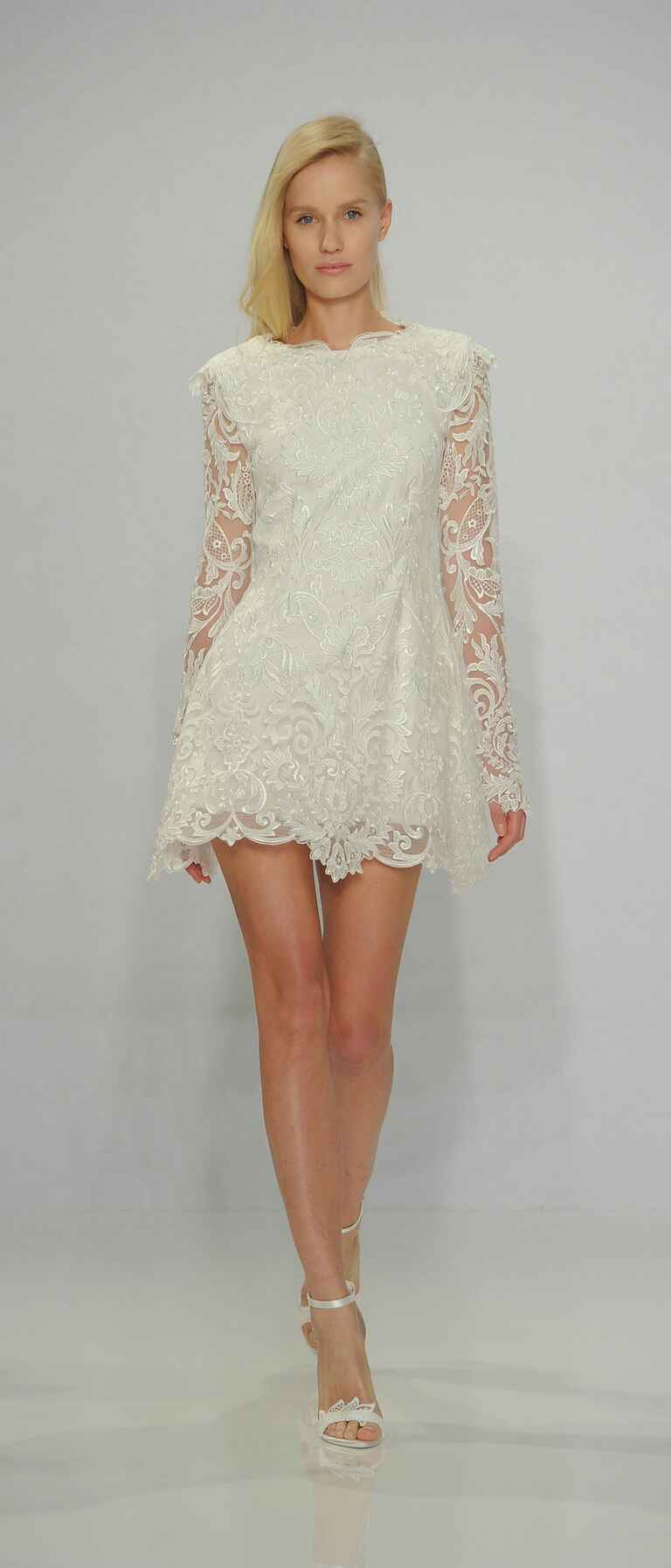 Christian Siriano Spring 2017 long sleeve lace mini wedding dress