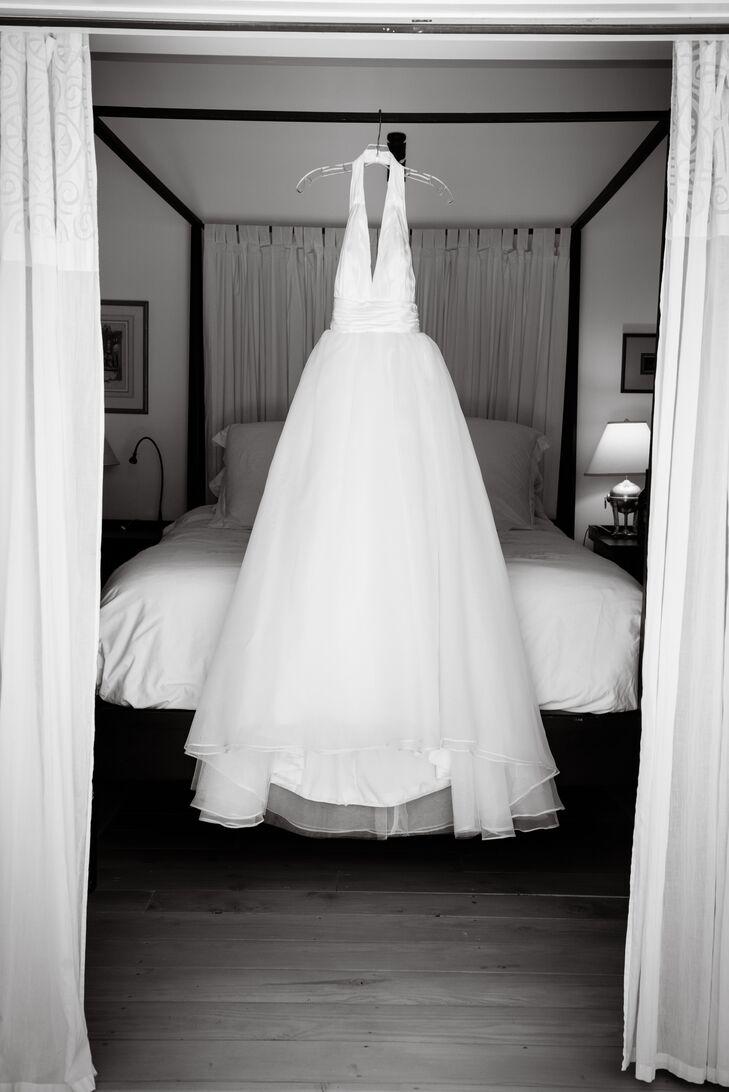 casual halter ivory wedding dress