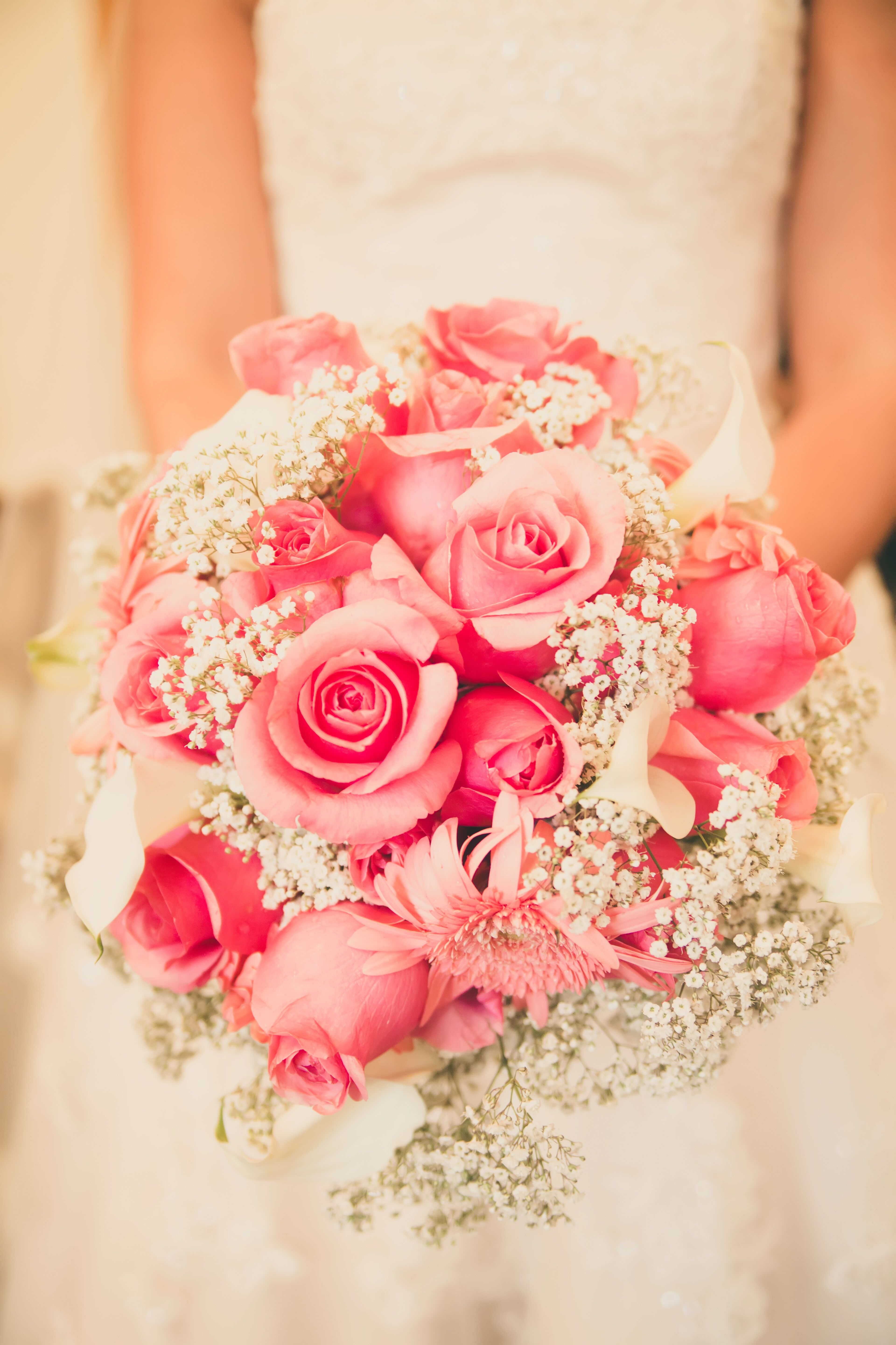 Pink Rose And Baby S Breath Bouquet