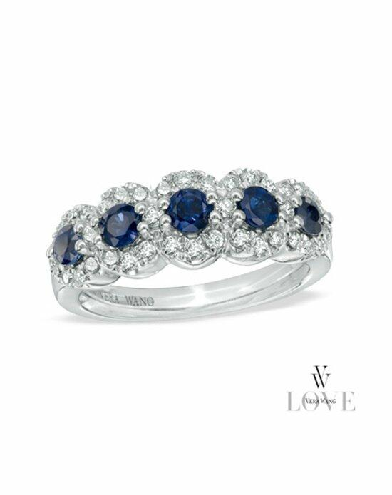 Vera Wang LOVE at Zales Vera Wang LOVE Collection Blue Sapphire and 3/8 CT. T.W. Diamond Five Stone Frame Ring in 14K White Gold  19837616 Engagement Ring photo