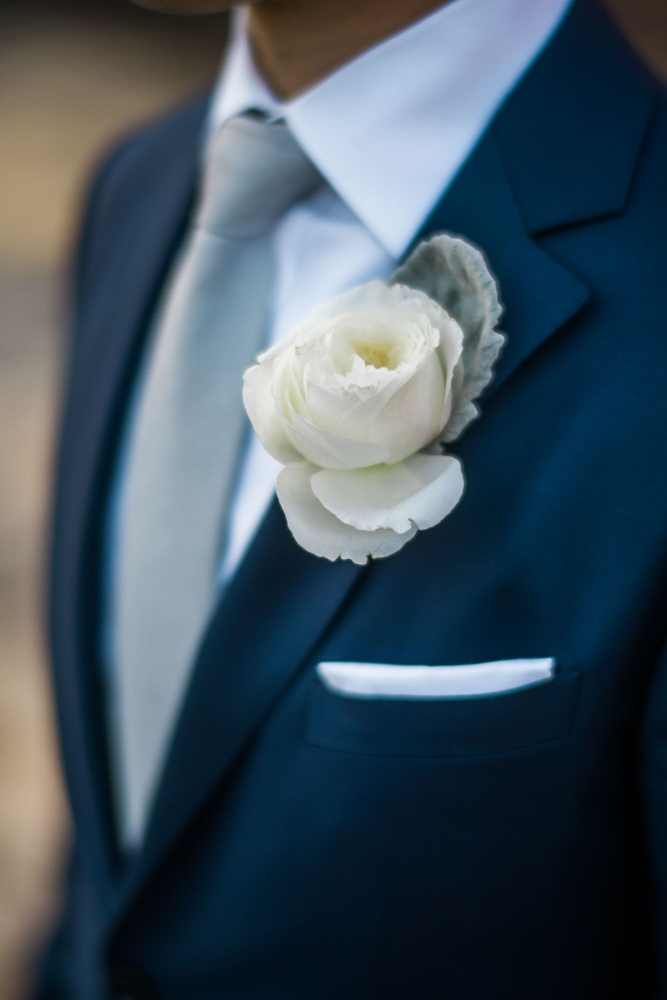 Ivory Rose and Dusty Miller Boutonniere