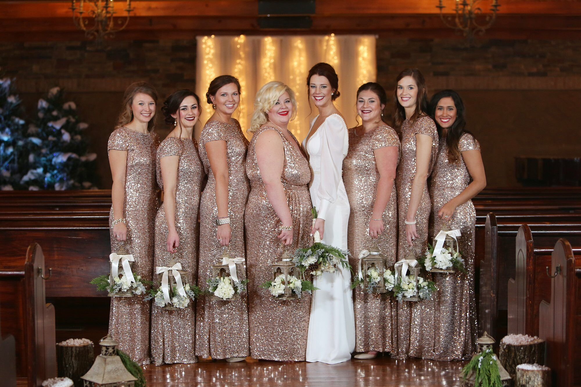 Glam Rose Gold Bridesmaid Dresses