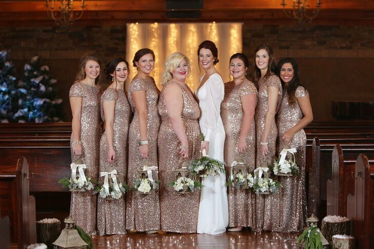 Glam rose gold bridesmaid dresses junglespirit Image collections