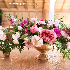 Cascading Garden Rose And Greenery Centerpieces