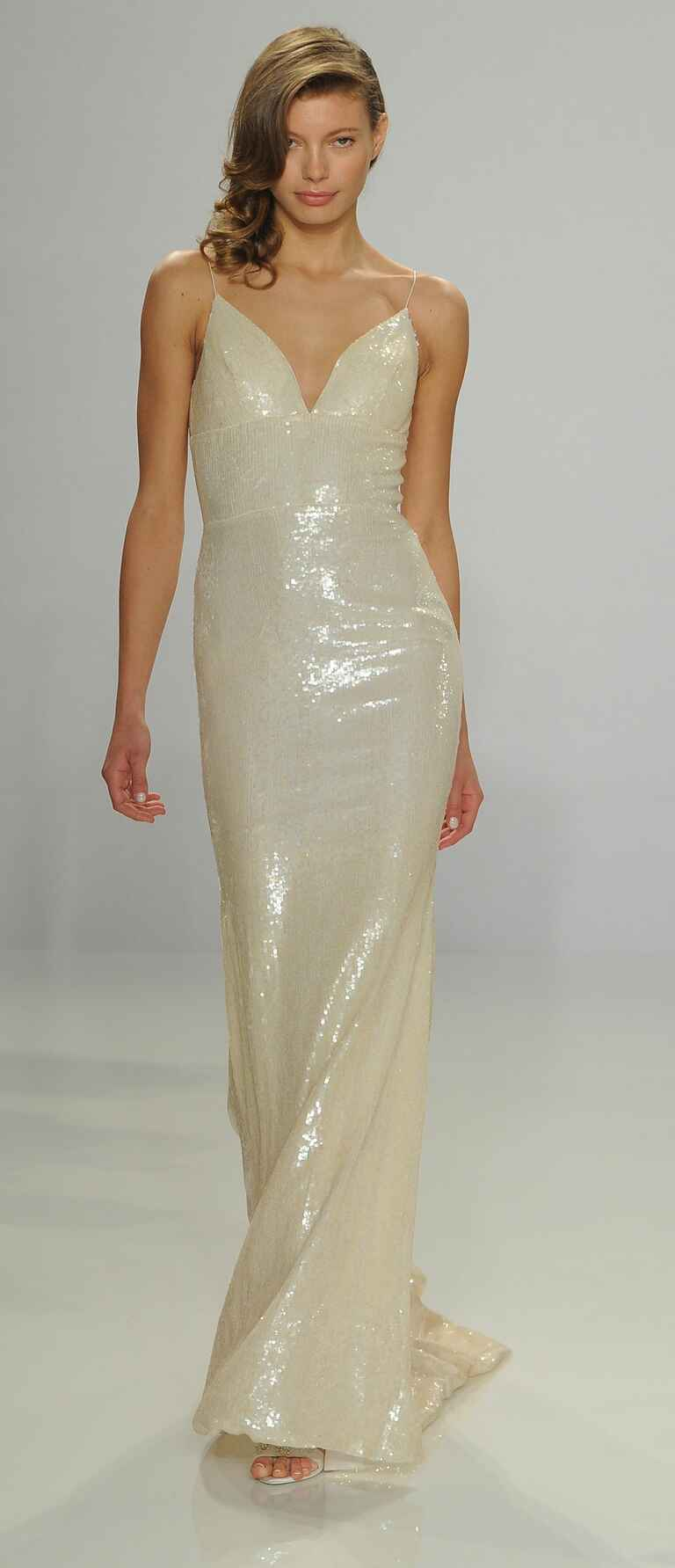 Christian Siriano Spring 2017 ombré sequin slip wedding dress