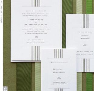 Green striped wedding invitations