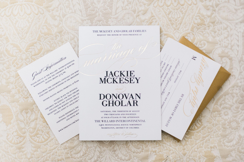 Elegant Gold, Black and White Wedding Invitations