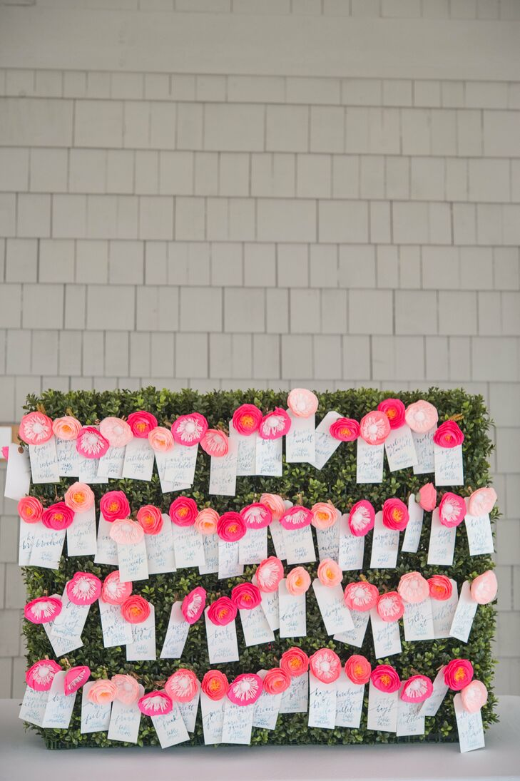 Birch Hedge And Paper Flower Escort Card Display