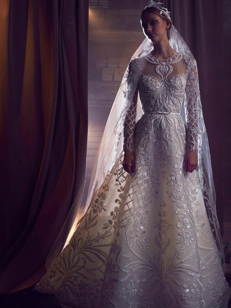 Elie saab fall 2018 collection bridal fashion week photos elie saab fall 2018 sequin embroidered illusion long sleeve wedding dres junglespirit Gallery