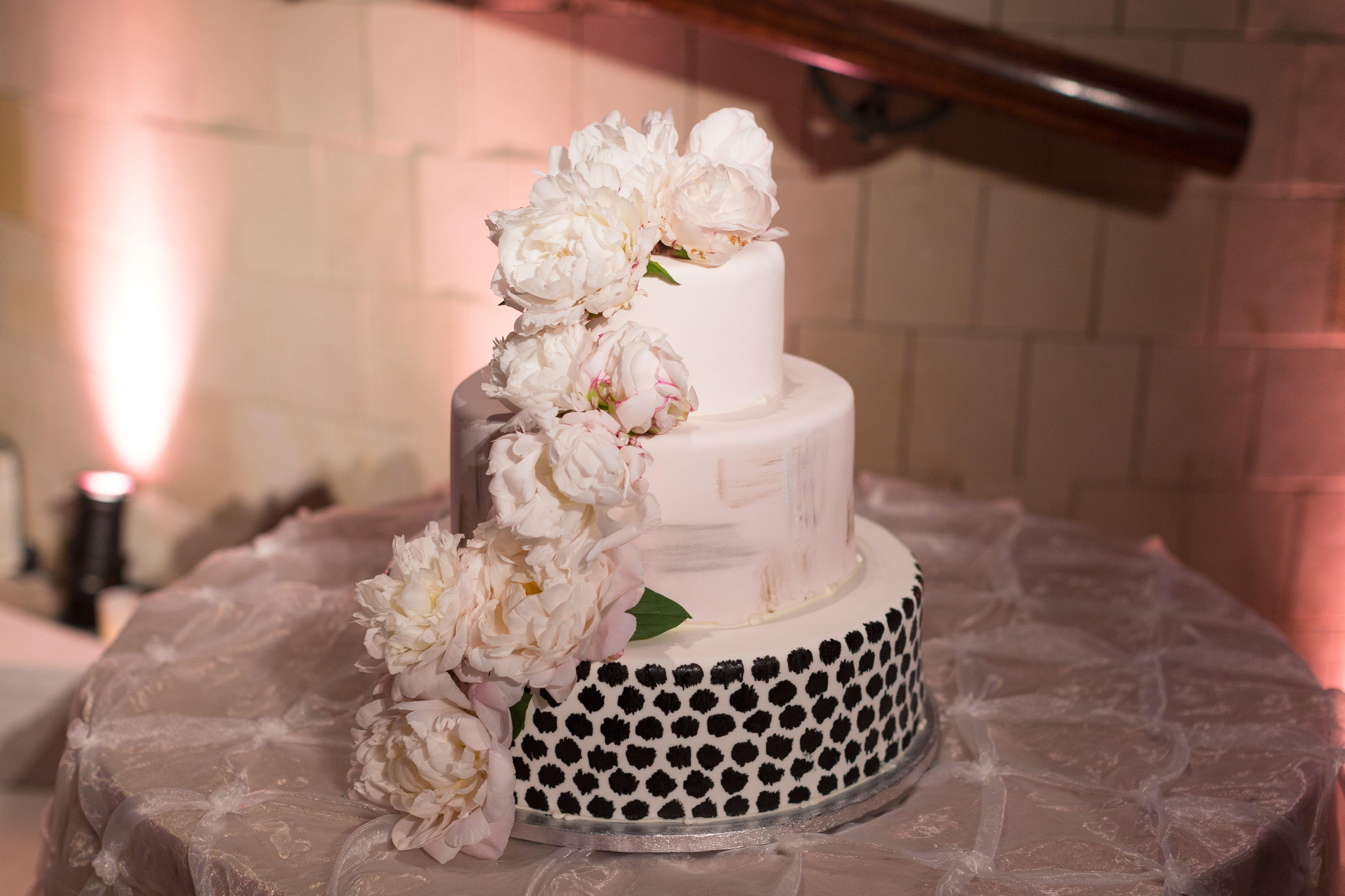 Black Blush And White Wedding Cake